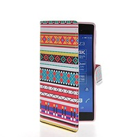 Colorful Patterns Flip Leather Wallet Card Pouch Stand Back Case Cover For Sony Xperia Z3