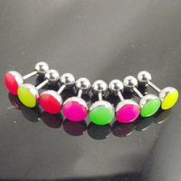 50pcs  wholesale Hot Fashion Charm glow neon color stainless steel tragus ear piercing earring