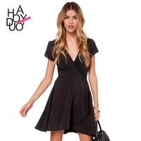 2015 Women's Sexy dress  Silky deep V-neck short-sleeved dress models tulip dress  XS-XXL