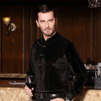 free shipping&2014 quality gold velvet flock printing shirt male long-sleeve shirt black slim
