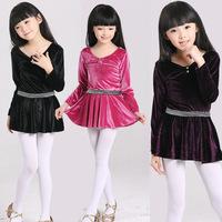 Pleuche Velvet Full Sleeve Ballet Dress for Girls Gymnastics Leotard Ballet Tutu Skate Dance Party Dress Women Costume LD022