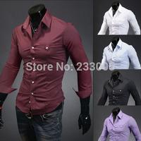 2014 New Cheap Solid Boss Men Shirt High Quality Long Sleeve Casual Shirts Stylish Mens Slim Fit Social Shirt 5 Colors M-XXL
