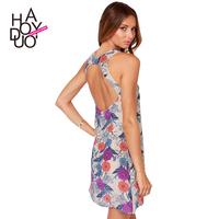 2015 Women's Sexy dress  Meticulous elegant blue and purple floral print sleeveless Chiffon halter dress  XS-XXL