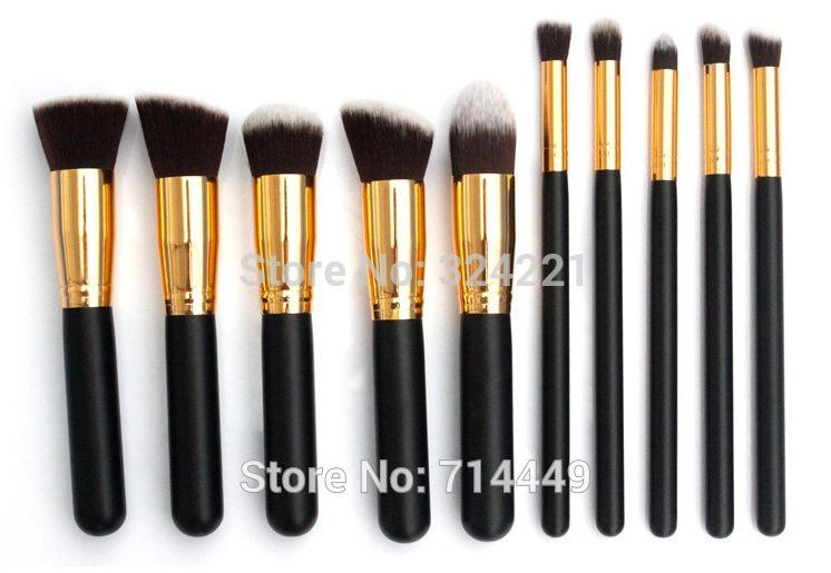 2Sets No Logo No Brand Brushes Makeup 10pcs Set Golden makeup brush set Synthetic Hair Brushes Tools Soft Smooth(China (Mainland))