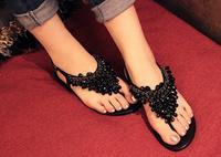 Bohemia summer 2014 new beaded rhinestone pinch flat sandals Flat thong female shoes Han edition