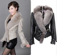 Women Fur Coat 2015 Winter fashion women Dress Long sleeve Copy the fox fur leather Fur clothing leather jacket Free shipping