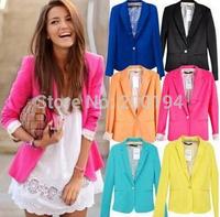 Free shipping 2015 Women's Blazer Suit Tunic Foldable Female Jacket Brand Single Button Colors XS- XL Lady Coat