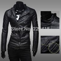 Fashion Double Zipper Design Leather Jacket Men Short Slim Men Casual Stand Collar Jacket Motorcycle Leather Jacket Men M-XXL