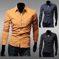 Top Quality Mens Casual Shirt Corduroy Solid Color Camisa Social Masculina Slim Fit Long-sleeve Shirt M-XXL Chemise Homme
