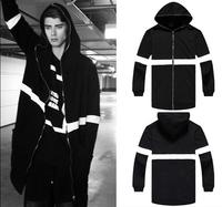 Brand Men Long Black/White Side Zipper Man Hiphop  Sweatshirt Hoodies Fashion Streetwear Men Women Swag Clothes Clothing Pyrex