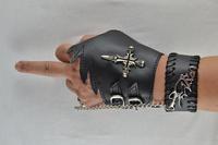 free shipping (min order 10USD) new design fashion punk party cross skull bracelet / glove set