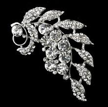 3″ Leaf Flower Diamante Brooch Rhodium Silver Plated Vintage Style Rhinestone Broach Pin