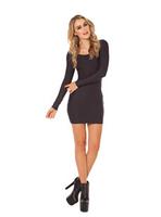 2015 new women dress blackmilk solid color long sleeve casual dress straight Slim hip round neck black dresses