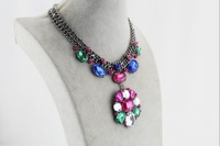 Necklaces & Pendants Hot Sale Transparent Big Resin Crystal Flower Vintage Choker Statement Necklace Fashion Jewelry