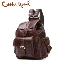 Cobbler Legend Top Quality Oil Wax Genuine Leather Women's Backpack Satchel Bag Mochila Feminina Bolsa Vintage Casual Lxuury(China (Mainland))