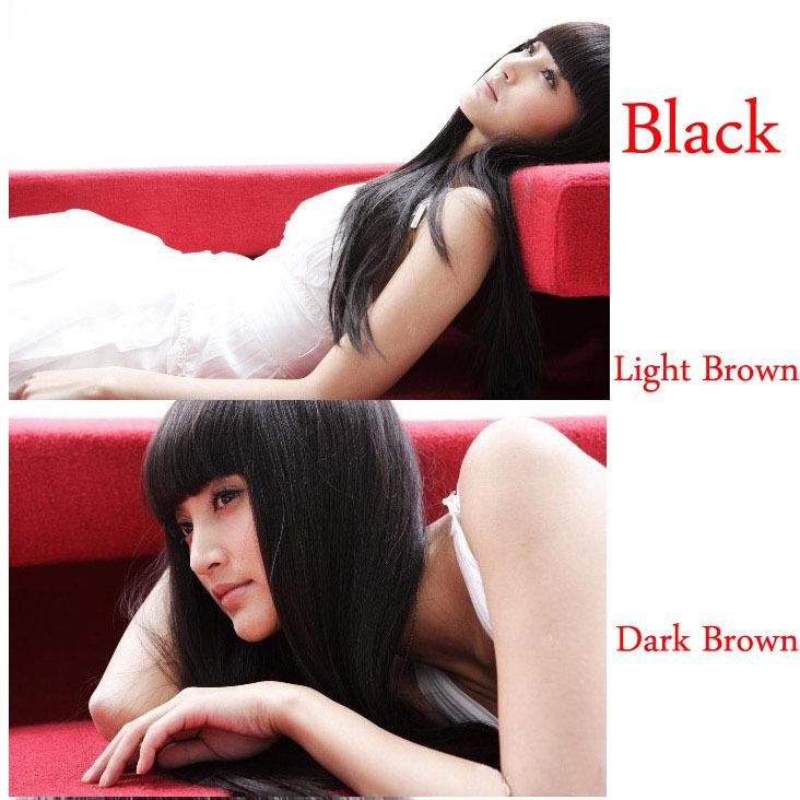 Top Quality New Trend Womens Girls Popular Sexy Long Fashion Full Straight Hair Wig Black Brown Light Brown Human Brazilian Wigs(China (Mainland))
