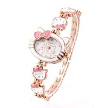 2015 New Hello Kitty Watches Fashion Ladies Quart Watch Vintage Kids Cartoon Wristwatches Analog King