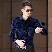 free shipping&2014 winter plus velvet thickening male pleuche thermal shirt slim fashion print male shirt