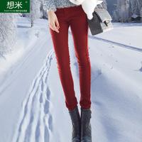2015 women's plus size thickening plus velvet jeans pencil pants long trousers women