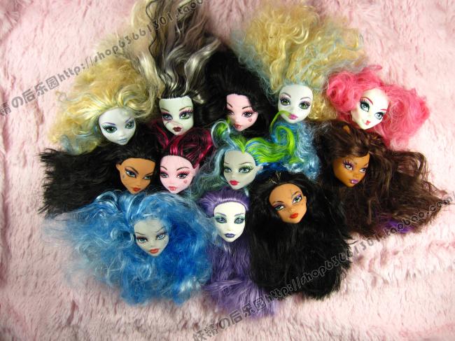 Free Shipping Original Monster Dolls Heads Doll Accessories Ugly Monster Dolls Heads For Monster High DIY Heads Girls Best Toys(China (Mainland))
