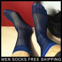 High quality Men Sheer Silk Black socks Transparent Sexy Men Dress suit Formal socks see through Drop shipping