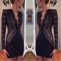 winter dress 2014 vestidos explosion models  fashion sexy deep V-neck long-sleeved lace cardigan Slim composite lace suit