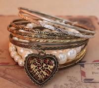 Pearl leopard print heart vintage multi-layer bracelet bangles cuff bracelets & bangles new 2014 CB023 MXIUX