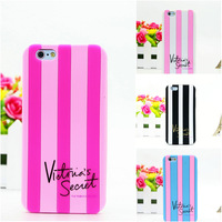 2014 Luxery victoria's pink secret stripe silicone case cover For iPhone 6 6G iphone6 4.7 inch,50pcs/lot