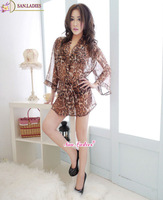Nightgown sleep skirt suit women Leopard Babydolls dress lingerie underwear Women pajamas Fantasias Eroticas nightwear