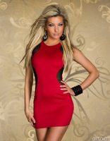 Foreign Red Sexy Dance Dress Women Mesh Contrast Color Patchwork O-neck Prom Queen Clothing To Club Party Nightie Clubwear