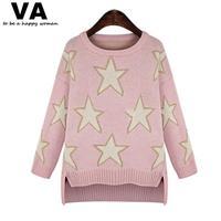 Long Sleeved Sweater Women Sweater Pullover O Neck Star Print Irregular Hem Female Sweater Fashion Plus Size Clothing WW00222