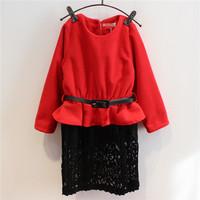2014 winter new children's clothing girls lace stitching thicker waist dress with belt