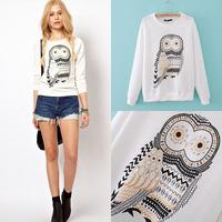 2014 Eu Fashion Owl Fashion Women Clothes Long Sleeves T-shirt Classic Design Crystal Owl Vintage Casual Clothes