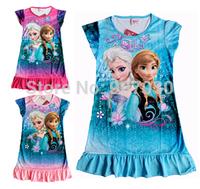 2014 New FROZEN Elsa and Anna girl girls short sleeve pajamas nightgown sleepwear nightie dress children