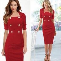 New 2015 Fashion Half Sleeve Women Winter Solid Casual Dress Autumn Vestidos Slash Neck Vestido do festa Evening Party Dresses
