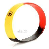 Silicone Rubber Bangle Elastic Belt Bracelet Football Germany Deutsch GER Flag