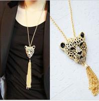 Min Order $10 Mix Free Shipping accessories fashion queen leopard head tassel necklace long necklace design MXIUX CX043