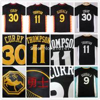 Stitched 2014-15 New #30 Stephen Curry #11 Klay Thompson Black Golden State Slate Short Sleeve Shirts Jerseys, Logoman On Back.