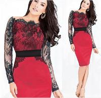 New Women Sexy Lace Crochet Dresses Long Sleeves Sheath mulheres cinto Vestidos Femininos Bodycon Party Pencil Dress cx852756