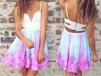 Cute sky flower print women dress strapless vestido estampado floral vestidos femininos vestidos femininos verao