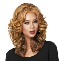 excellent synthetic hair wigs long curly blond wig for woman free shipping