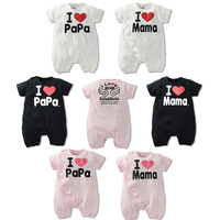 2015 Summer Style !Letter Pure Cotton Romper Fashion Cute Short-Sleeve With Wing Infant Jumpsuit Love Papa Mom For 0~2 Age