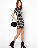 2014 New European Spring/Summer women O collar short sleeve sexy lady Plaid Vintage dress,WD0307