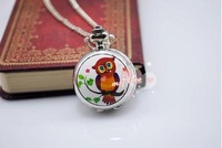 Fashion Cute cartoon enamel quartz  owl on the branches pattern watches Retro Han edition sweater chain Necklace pocket watch