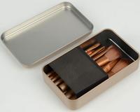 Free Shipping Makeup Tool Kit 12pcs/pack Nylon Brush + Wood Handle with Gloden Tin for Makeup Master
