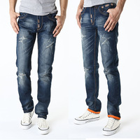 Men Jeans Vintage Ripped Holes Destroyed Brand Jeans Skull Patched Emborid Pants Relaxed Straight Distress Denim Trousers