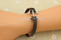 Silver Nautical Anchor Leather Charm Bracelet, Personalized Men's And Women's Bracelet, Best Gift, 6pcs #037