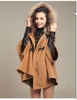 Autumn winter new arrival three quarter batwing sleeve women warm woolen Cloak coat,High quality special price lady hoodies coat