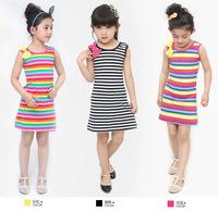 Peacemaker Girl dress rainbow color strip girl clothing kids dress lace princess   summer little girl dress sleeveless