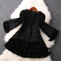 2014 High quality Fashion  Hand-beaded embroidery wool coat jacket winter coat women coat